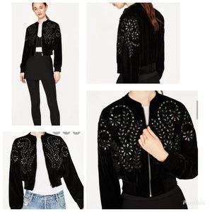 Zara Velvet Eyelet Crop Jacket